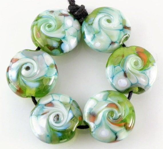 Koi Pond - Handmade Lampwork Beads - Lampwork Glass Lentil Beads 18mm - Green, Blue, Orange - SRA (Set of 6 Beads)