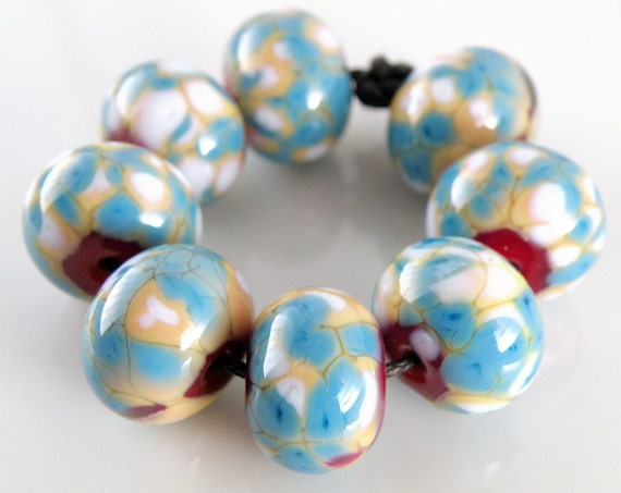 Country Cool - Handmade Artisan Lampwork Glass Rounds 9mmx12mm - Lampwork Beads - Blue, Cream, Red, White - SRA (Set of 8 Beads)