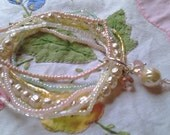 1920's Inspired Pastel Stretchy Seed Bead and Recycled Vintage Faux Pearls