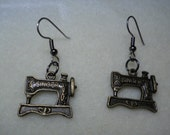 Brass Charm Dangly Earrings Singer Featherweight for the seamstress in your life