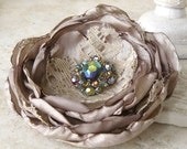 Faerie - Layered Flower Pin Brooch in Champagne Taupe and Aqua