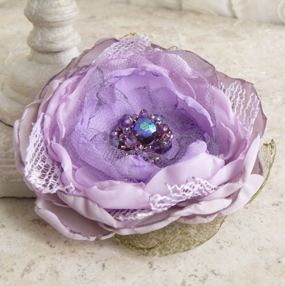 Wistful - Layered Fabric Flower Pin Brooch in Lilac and Lavender