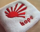 Hope and Love for Japan sweat terry wristband - Rising Sun in Heart