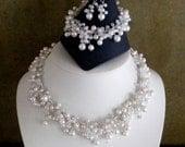 Bridal Jewelry Set Pearl Jewellery Set White Jewelry Set Bridesmaid Pearl Jewelry Set Handmade Jewellery Set White Pearl Set