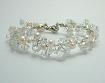 Freshwater Pearl and Clear Quartz Bridal Bracelet
