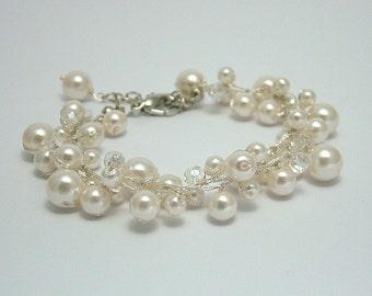 Bridal Bracelet - pearl and crystal