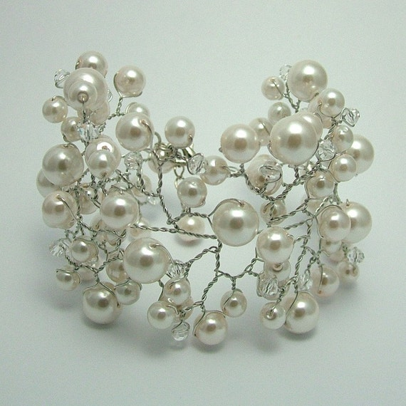 Pearl and Crystal Vine Cuff Bracelet