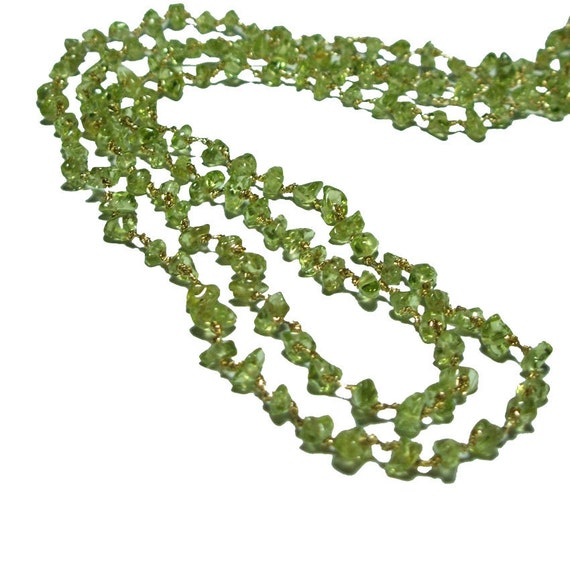 Green Peridot Necklace  - Hand Knotted Necklace - Double strand