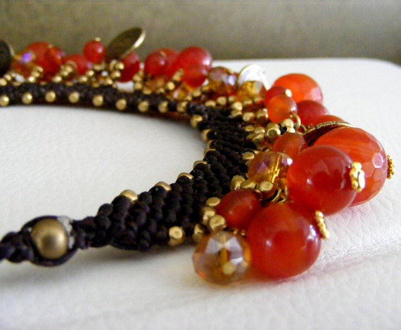 Woven Necklace with Carnelian and Brass