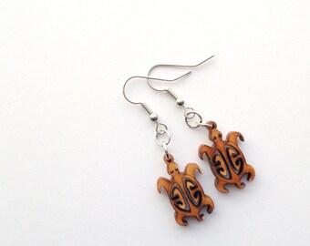 Wood Turtle Earrings