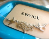 Soaring Swallow Tree in Silver and Freshwater Pearl Necklace