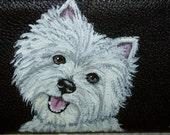 West Highland Terrier Westie dog Custom Painted Leather deluxe Checkbook Cover checkbook holder