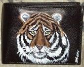 Tiger Wild Cat Custom Painted Leather Men wallet