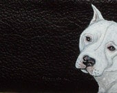 Dogo Argentino Dog Custom Painted Leather Checkbook Cover