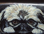 Pekingese Dog Custom Painted Leather deluxe Checkbook Cover Checkbook holder