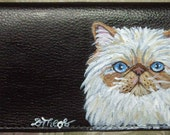 Himalayan Cat Custom Painted Leather deluxe Checkbook Cover