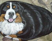 Bernese Mountain Dog & Poodle Painted Rock Art Figurine Paper Weight for Michelle