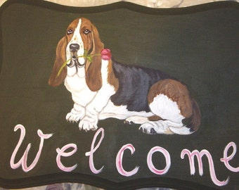 Basset Hound Custom Painted Welcome Sign Plaque Home decor Wall decor