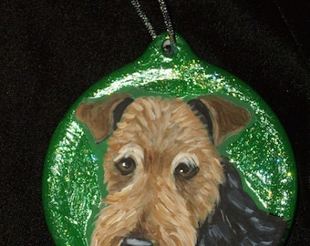 Welsh Terrier Dog Custom hand Painted Christmas Ornament Decoration