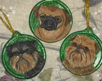 Brussels Griffon Dog Custom hand Painted Christmas Ornament Decoration