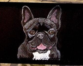 French Bulldog Custom Hand Painted Leather Checkbook Cover Checkbook Holder