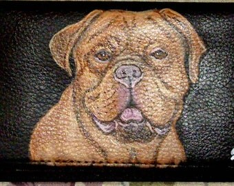 Dogue De Bordeaux French Mastiff dog Custom Painted Leather Checkbook Cover