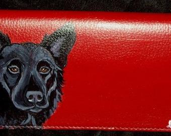 Black German Shepherd Dog Custom Painted Leather Checkbook Cover