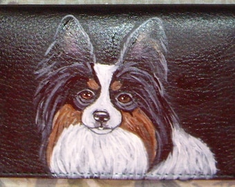 Papillon Dog Custom Painted Leather Checkbook Cover