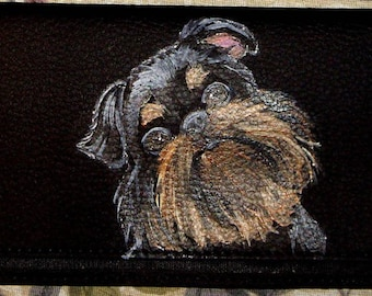 Brussels Griffon Dog Custom hand Painted Leather deluxe Checkbook Cover Checkbook Holder