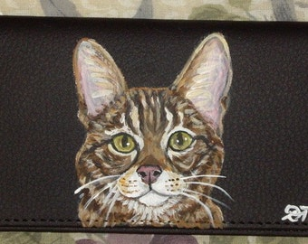 Savannah Cat Custom Hand Painted Leather Checkbook Cover Checkbook Holder