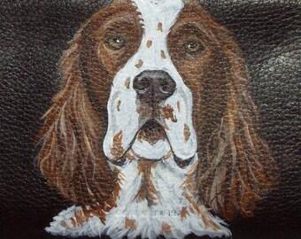 Red and White Irish Setter Dog Custom hand Painted Leather Checkbook Cover checkbook Holder