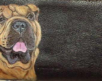 Shar Pei Dog Custom Hand Painted Leather Checkbook Cover Checkbook Holder