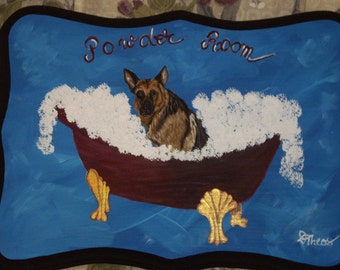 German Shepherd Dog Custom Painted Powder Room Sign Plaque