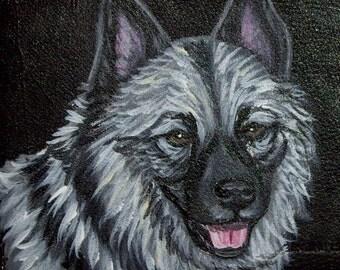 Norwegian Elkhound Dog Custom Painted Leather Men's Wallet