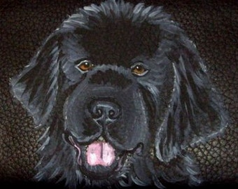 Newfoundland Dog Custom Painted Men's Leather Wallet