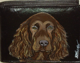 Field Spaniel Dog Custom Painted Leather Men's wallet Gifts for Men