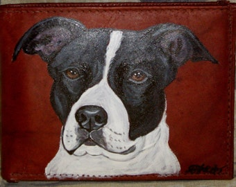 Pit Bull Painted Leather Men's Wallet Gift for Men