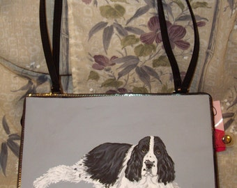 English Springer Spaniel Dog Painted Bag Handbag Purse 3 items for 1 price