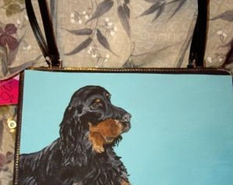 Gordon Setter Dog Painted Bag Handbag Purse 3 items for the price of 1
