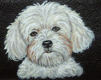 Havanese Dog Custom hand Painted Leather Checkbook Cover Checkbook Holder