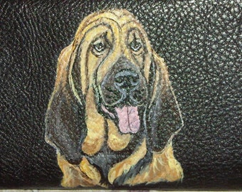Bloodhound Dog Custom hand Painted Leather Checkbook Cover Checkbook Holder