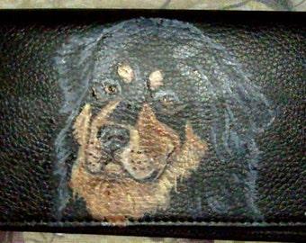 Tibetan Mastiff Dog Custom Painted Leather Checkbook Cover Checkbook Holder