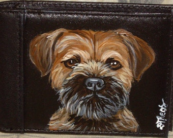 Border terrier Dog Custom Painted Leather Men Wallet