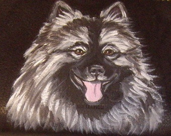 Keeshond Dog Custom Painted Leather Men's Wallet