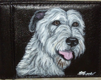 Irish Wolfhound Dog Custom Hand Painted Leather Wallet for Men
