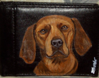 Redbone Coonhound Dog Custom hand Painted Leather Men's Wallet Gifts for Men