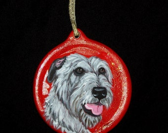 Irish wolfhound Dog Custom Painted Christmas Ornament Decoration