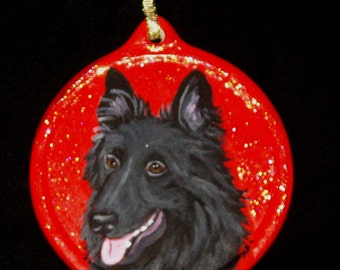Belgian Sheepdog Custom Painted Christmas Ornament Decoration