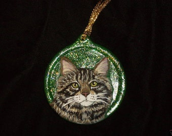 Maine Coon Cat Custom Painted Christmas Ornament Decoration