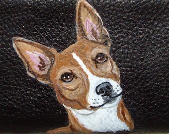Basenji Dog Custom Painted Leather Men wallet